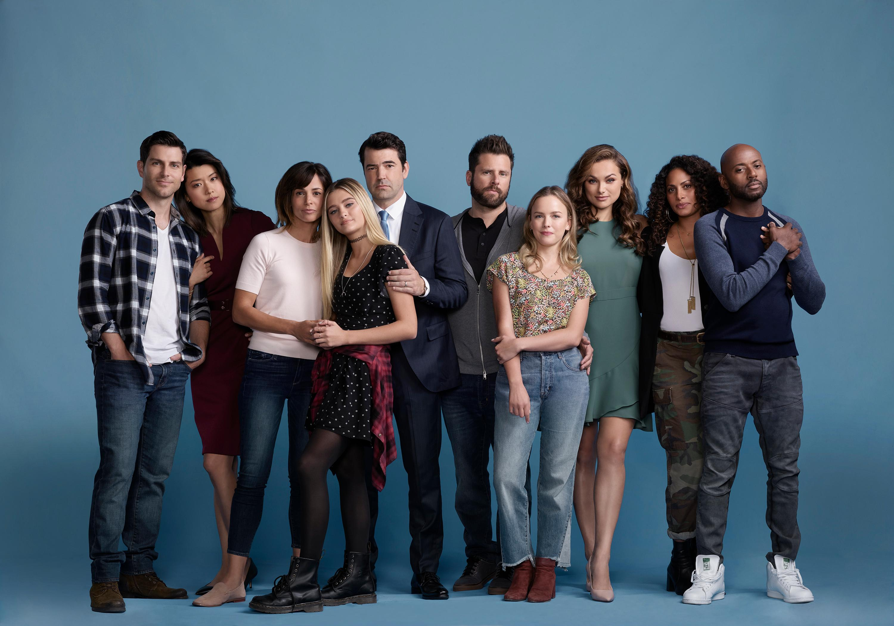 "A MILLION LITTLE THINGS - ABC's ""A Million Little Things"" stars David Giuntoli as Eddie, Grace Park as as Katherine, Stephanie Szostak as Delilah, Lizzy Greene as Sophie, Ron Livingston as Jon, James Roday as Gary, Allison Miller as Maggie, Christina Ochoa as Ashley, Christina Moses as Regina, and Romany Malco as Rome. (ABC/Matthias Clamer)"