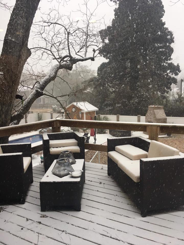 A snowy patio in Florence off E. Palmetto St. (Viewer Submitted photo)<p></p>