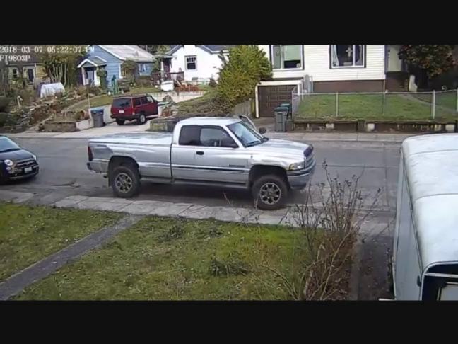 A surveillance video released by Bremerton police shows an attempted theft of a pickup Wednesday, March 7, 2018. The woman's 2-year-old child was in the truck.