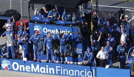 Elliott Sadler's crew celebrate Sadler winning the NASCAR Aaron's 312 Nationwide series auto race at Talladega Superspeedway, Saturday, May 3, 2014, in Talladega, Ala.