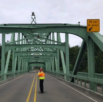"The Oregon Department of Transportation says it was a ""hit-and-run crash that caused major damage to the structure."" ODOT bridge engineers are on scene. (OSP photo)"