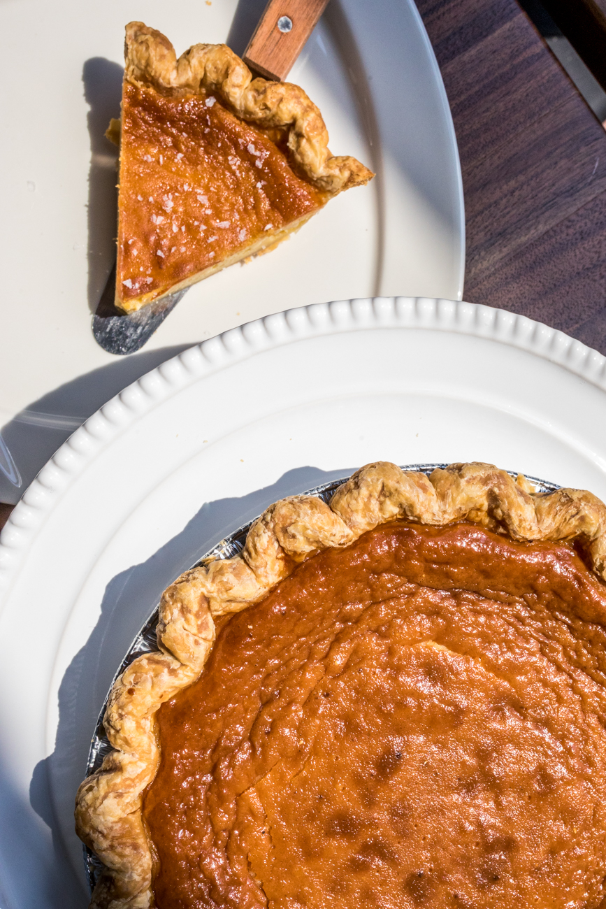 Honey Vinegar Pie: honey, vanilla bean, and a touch of apple cider vinegar topped with Maldon sea salt / Image: Catherine Viox // Published: 9.16.20