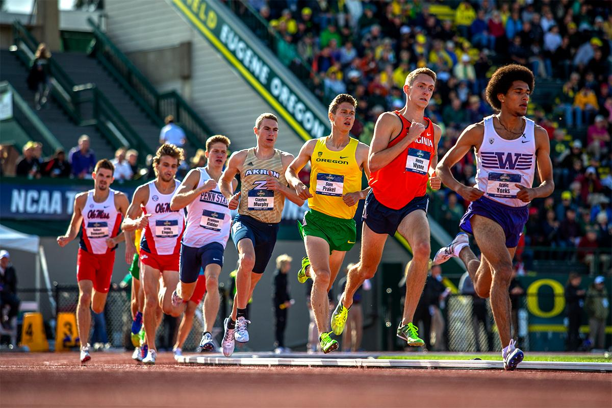 Washington's Izaic Yorks leads the men's 1,500 field around the corner. Yorks finished second in a time of 3:38.06. The race was won by Akron's Clayton Murphy in 3:36.38. Photo by August Frank, Oregon News Lab