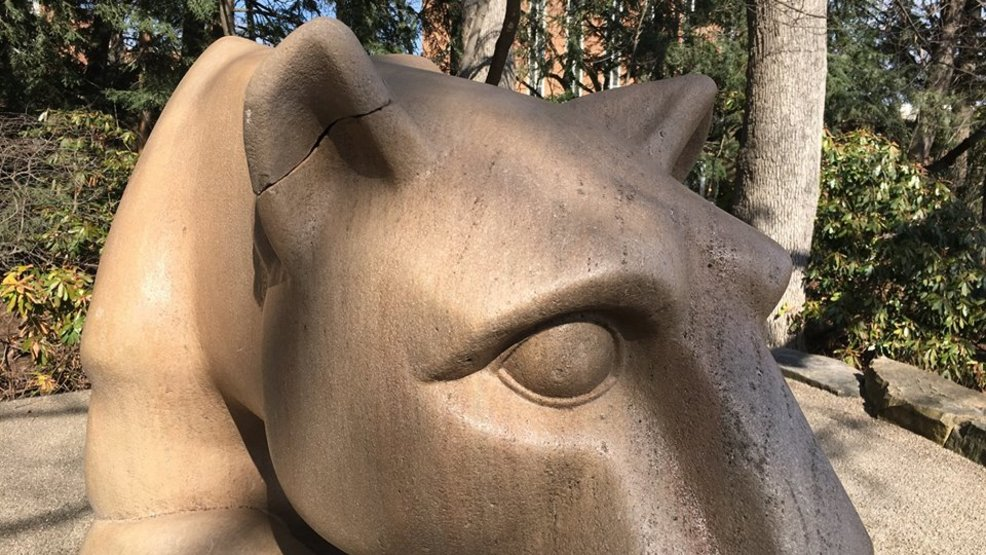 damaged ear of penn state mascots statue repaired