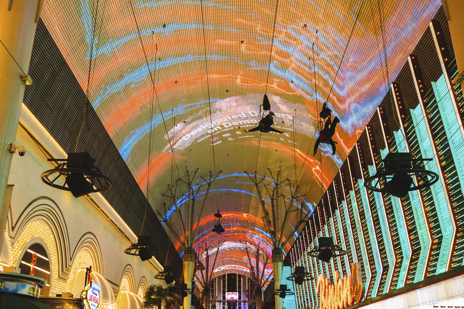"The Fremont Street Experience. Las Vegas may be best known for its sinful side but there's more to this modern metropolis than losing your shirt. Not the gambling type? A tour of the city's faded relics at The Neon Museum is great for both history buffs and Instagramming your heart out. Get same-day discount tickets to check out one (or more) of Cirque Du Soleil's seven different local shows for a masterful performance. Vegas is a hotbed of buzz-worthy eateries that don't involve buffets, so do your tummy a favor try the melt-in-your-mouth pork belly buns at Momofuku and don't even think about leaving before digging into the neighboring Milk Bar's cereal milk ice cream with cornflake crunch. It really does taste just like the milk at the bottom of a bowl of cornflakes! And while you can no longer catch Britney Spears like us, there are countless headlining musical acts in town that redefine the term ""production."" From Flying high down the Fremont Street zip-line to pretending you're in the movies in front of the Bellagio fountains, don't miss out on all Las Vegas has to offer just outside the casinos. (Image: Sunita Martini)"