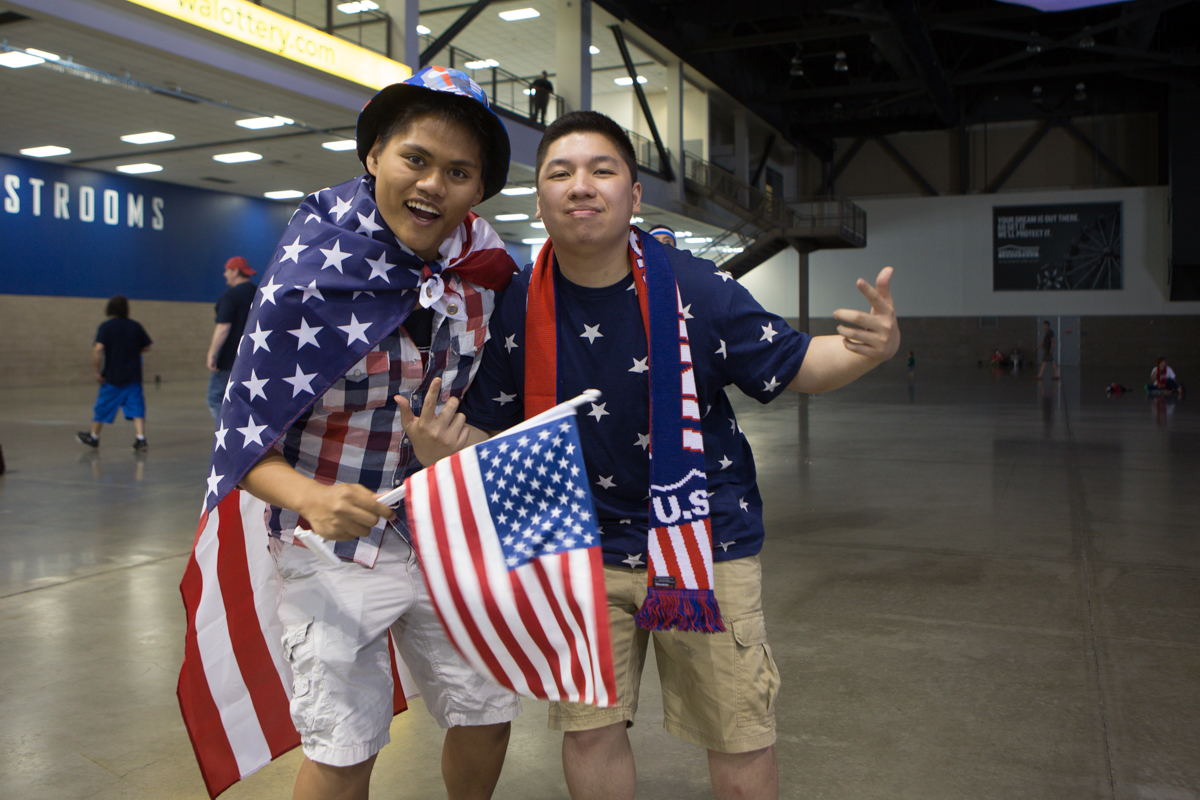 The World Cup is arguably just as much about national pride as it is soccer. Americans never shy away from a chance to rock a little red, white and blue - and that was in full effect today at the USA vs. Belgium viewing party at Century Link Event Center. Even though we lost, we looked darn good doing it. (Image: Joshua Lewis / Seattle Refined)