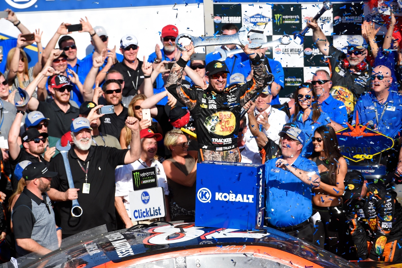 Martin Truex Jr. celebrates his victory in the Monster Energy NASCAR Cup Series Kobalt 400 Sunday, March 12, 2017, at the Las Vegas Motor Speedway. (Sam Morris/Las Vegas News Bureau)