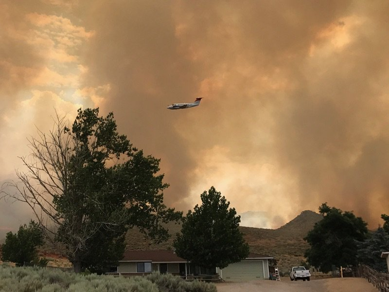 Brush fire along Hwy. 395 near Cold Springs prompts evacuations. (Courtesy: Washoe County)
