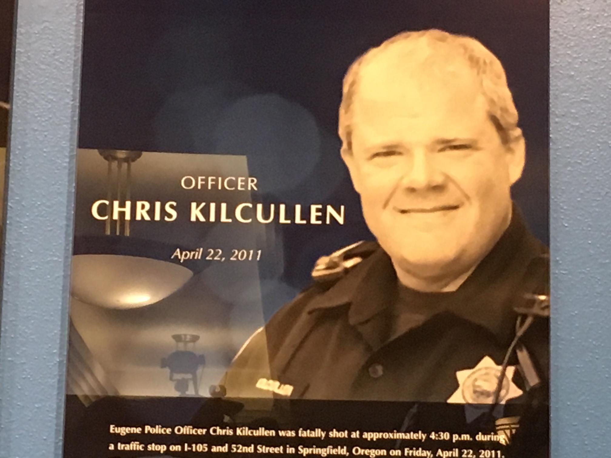Eugene Police unveiled a memorial wall honoring Officer Chris Kilcullen (2011), Officer Jesse Jennings Jackson (1934) and Officer Oscar Duley (1930).
