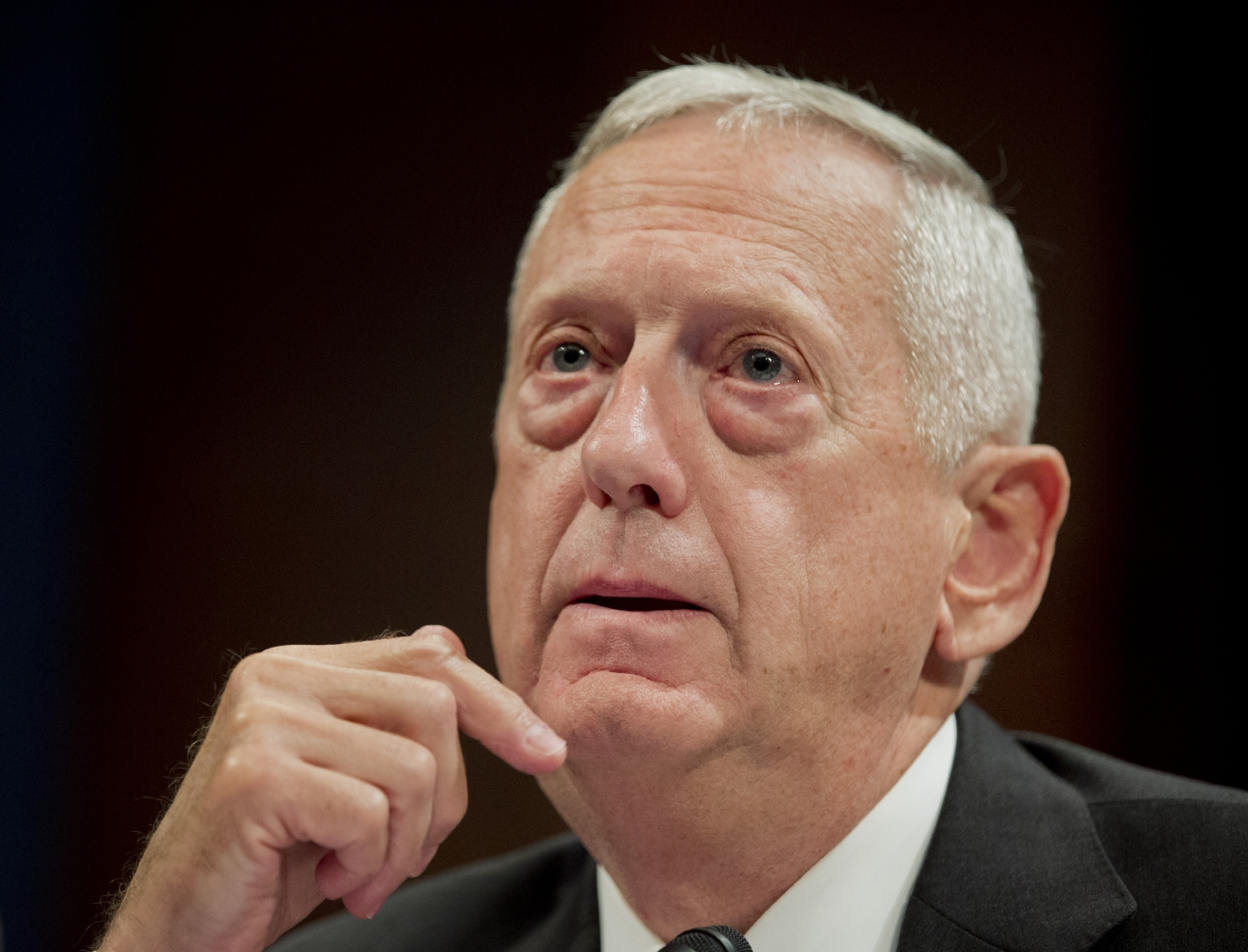 Former commander of the U.S. Central Command (CENTCOM) Gen. James Mattis, USMC (Ret.), testifies before a House Permanent Select Committee on Intelligence full committee hearing on the threat posed by the Islamic State of Iraq and the Levant (ISIL), al-Qa'ida, and other Islamic extremists, on Capitol Hill in Washington, Thursday, Sept. 18, 2014.  (AP Photo/Manuel Balce Ceneta)