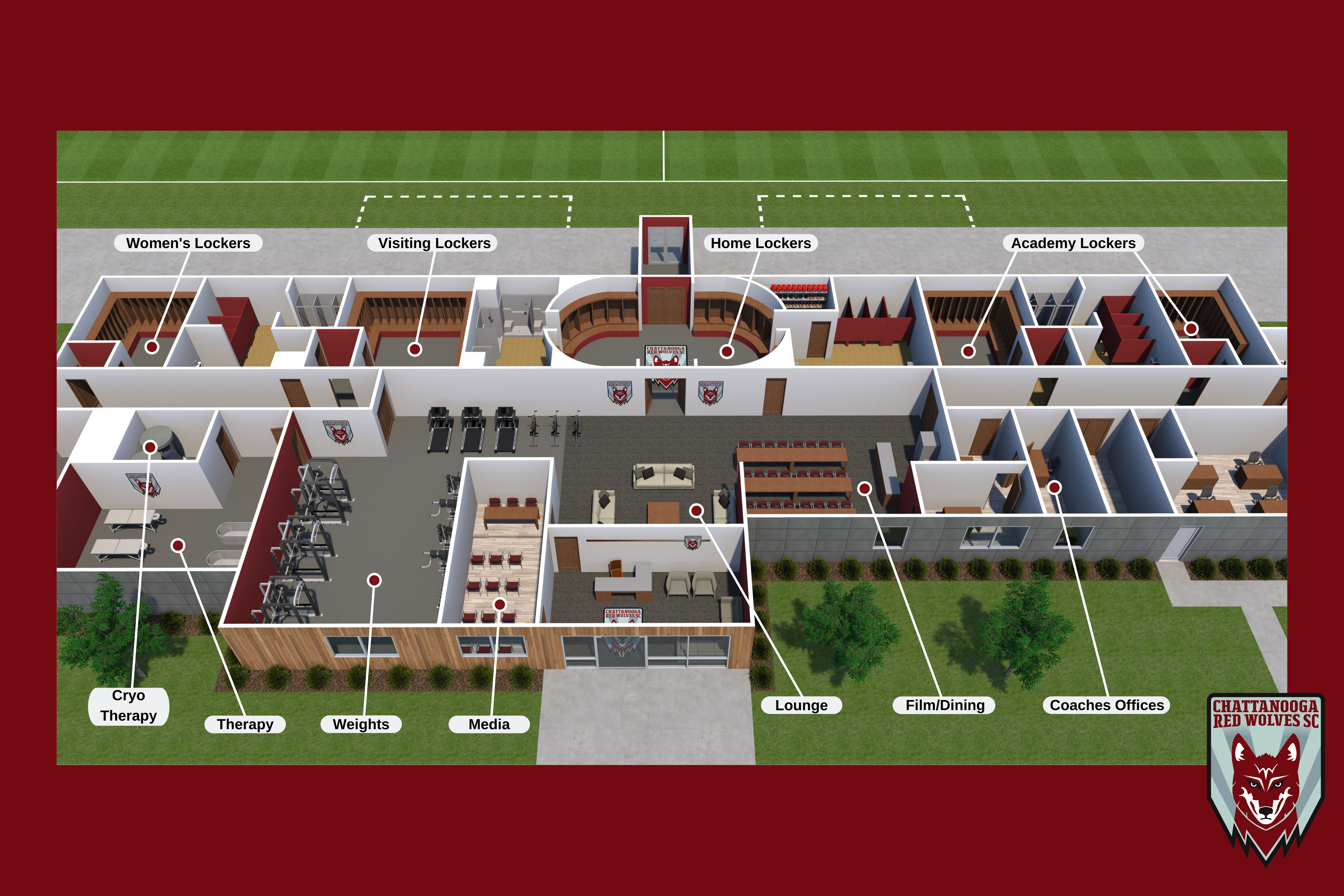 Artist's rendering of the completed stadium complex via City of East Ridge.