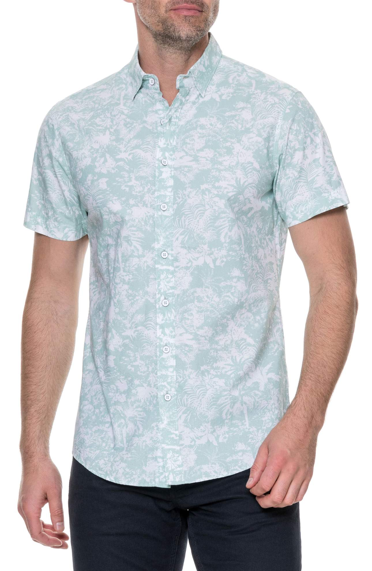 Freshen up your warm-weather look with the understated vintage floral print on a slim-fitting sport shirt tailored from lightweight cotton poplin. (Image: Nordstrom)<p></p>