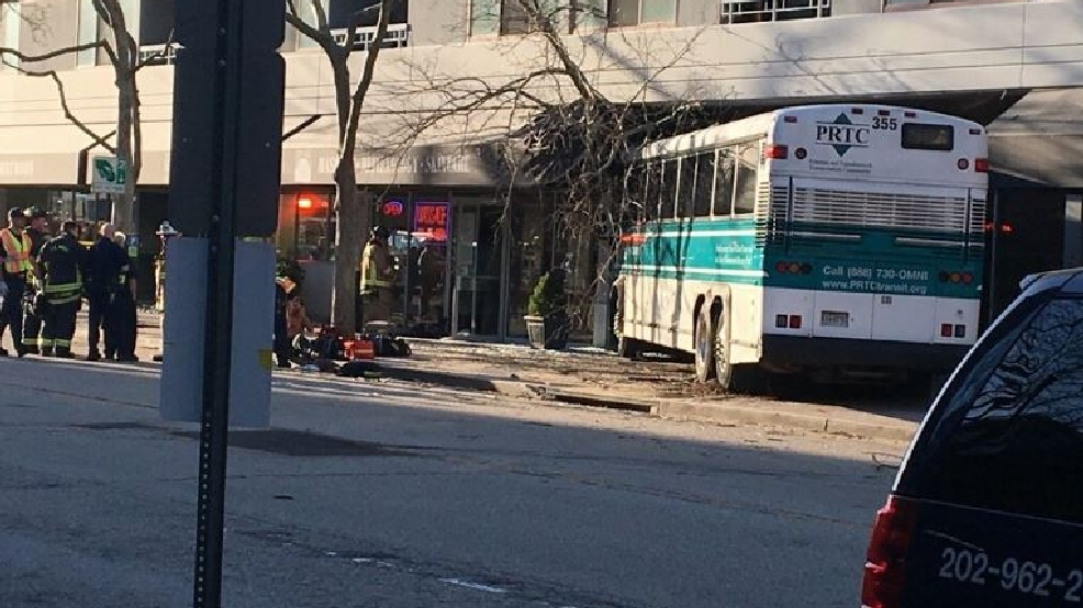 Bus crashes into Arlington building 4 people taken to hospital WJLA