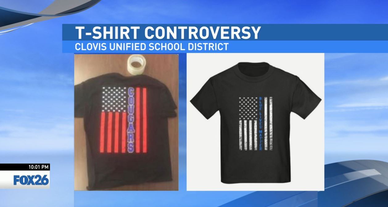 """When the administration saw the design, they were concerned it looked very similar to some movements around the nation, in particular 'Blue Lives Matter' in this case,"" said Kelly Avants, Chief Communications Officer for Clovis Unified."
