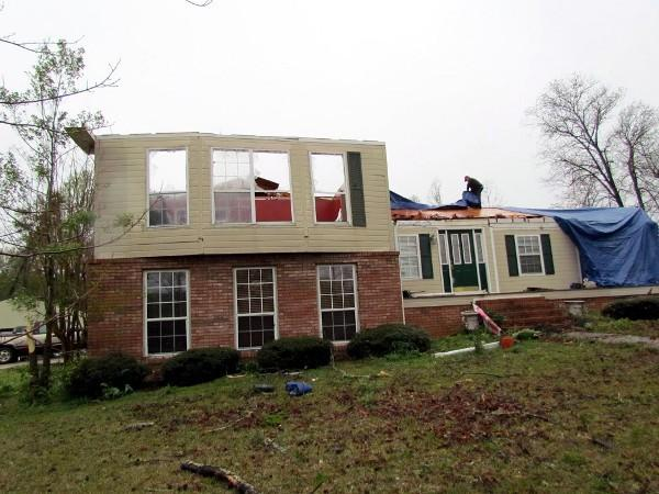 A home in Carbon Hill, Ala. suffered extensive damage during strong storms on Thursday, April 11, 2013.