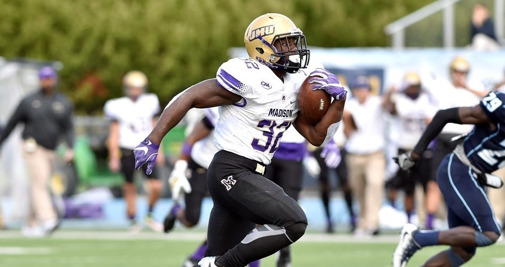 JMU 31, MAINE 20: Khalid Abdullah (below) and Cardon Johnson, who grew up together, continued running over opposing defenses together. They both topped 100 yards for the third time this season, combining for 282 rushing yards and 3 TDs. The 11th-ranked Dukes rallied from a 13-10 halftime deficit to win the CAA Football opener on ASN. The Dukes also posted their first 3 sacks of the season. More would follow. (Photo courtesy JMU Athletics)