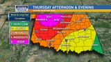 Significant risk of severe storms Thursday, possibly Friday