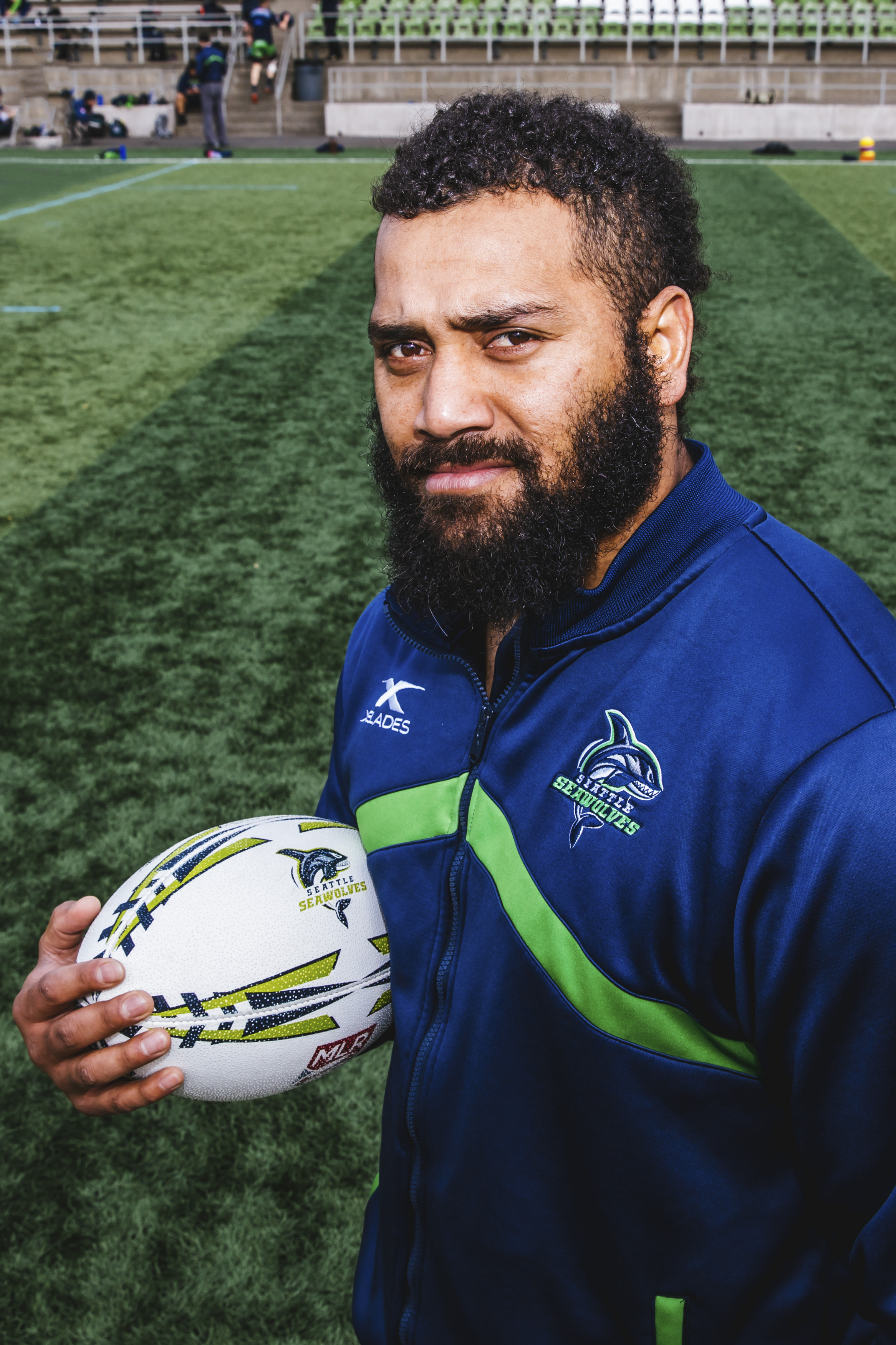 This is William! The 34-year-old is originally from Fiji and plays Center for the Seawolves. His favorite film is Aquaman! (Image: Sunita Martini / Seattle Refined).