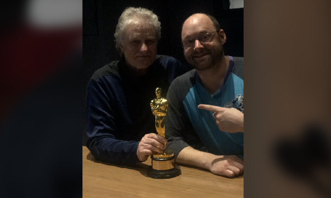 L-R Don Sylvester Supervising Sound Editor and Smokey Cloud with Academy Award for Best Sound Editing - Smokey Cloud.png