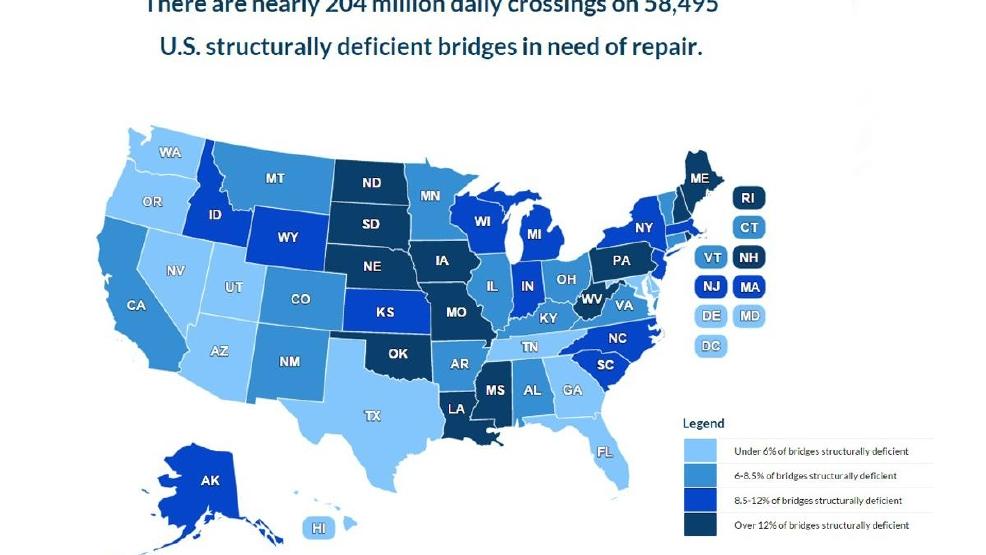 Study Finds Thousands Of Structurally Deficient Bridges In US - Us bridge map