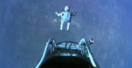 This image made from video, provided by Red Bull Stratos shows pilot Felix Baumgartner of Austria as he jumps out of the capsule during the final manned flight for Red Bull Stratos on Sunday.