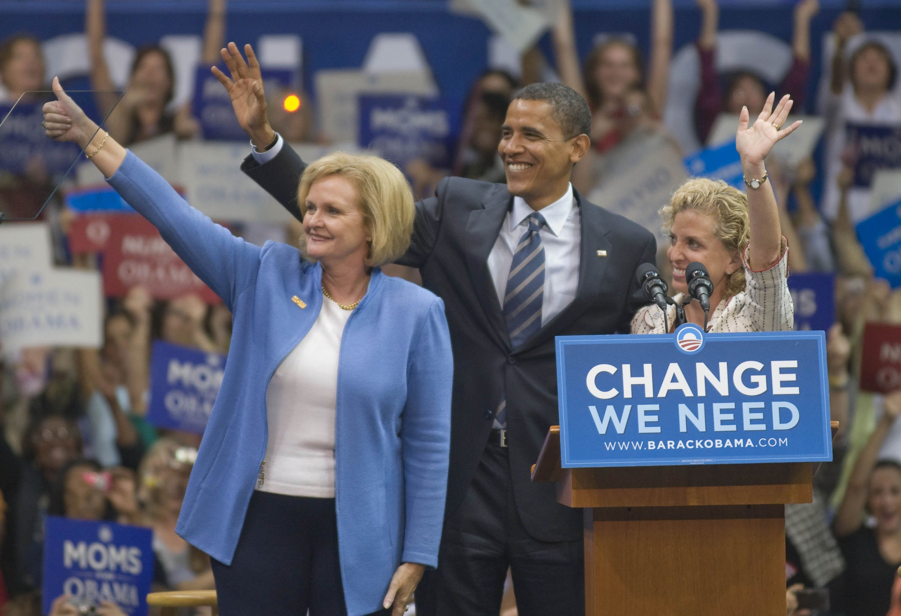 "U.S. Senator Claire McCaskill, Barack Obama and Congresswoman Debbie Wasserman-Schultz wave to the supporters at the Barack Obama for President, ""Change We Can Believe In,"" campaign rally at the Bank United Center on the University of Miami campus Coral Gables, Florida - 19.09.08  Where: Miami, United States When: 19 Sep 2008 Credit: Mitchell Zachs / WENN"