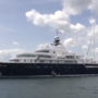 Giant yacht docked in Portland Harbor