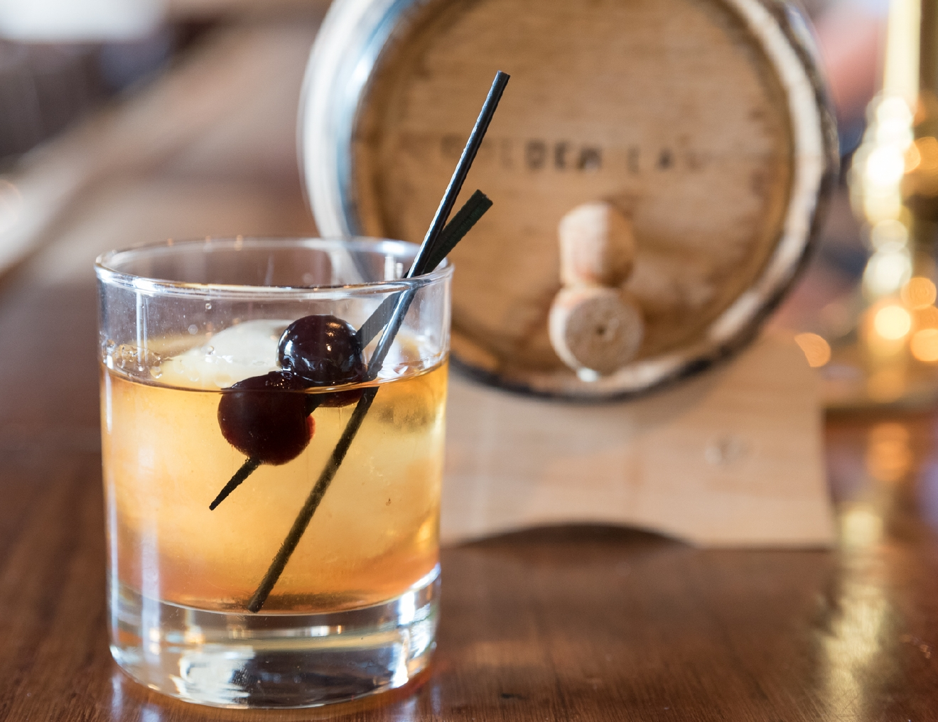 Manhattan with house-aged bourbon,  house-made bitters & amarina cherries / Image: Sherry Lachelle Photography