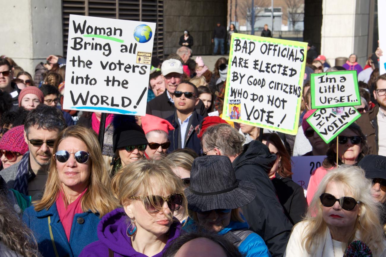 The 2018 Cincinnati Women's March took place on Saturday, January 20, with everyone gathering outside of the National Underground Railroad Freedom Center. Thousands participated in the downtown event, and there were also hundreds of other sister marches in cities around the country. / Image: Dr. Richard Sanders // Published: 1.23.18