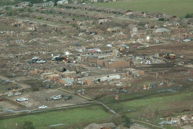 Homes were destroyed when the tornado ripped through Moore.