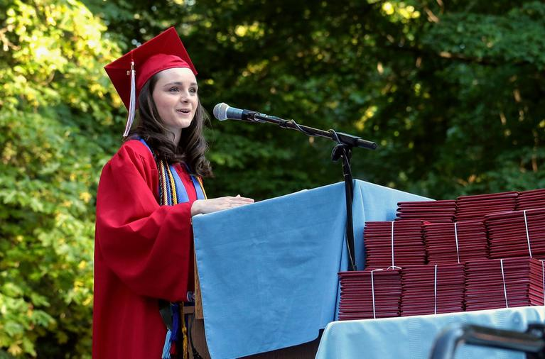 Student Speaker, Julia Laurenson, at the Ashland High Class of 2018 Commencement Ceremony at Lithia Park.   [ / PHOTO BY:  LARRY STAUTH JR]