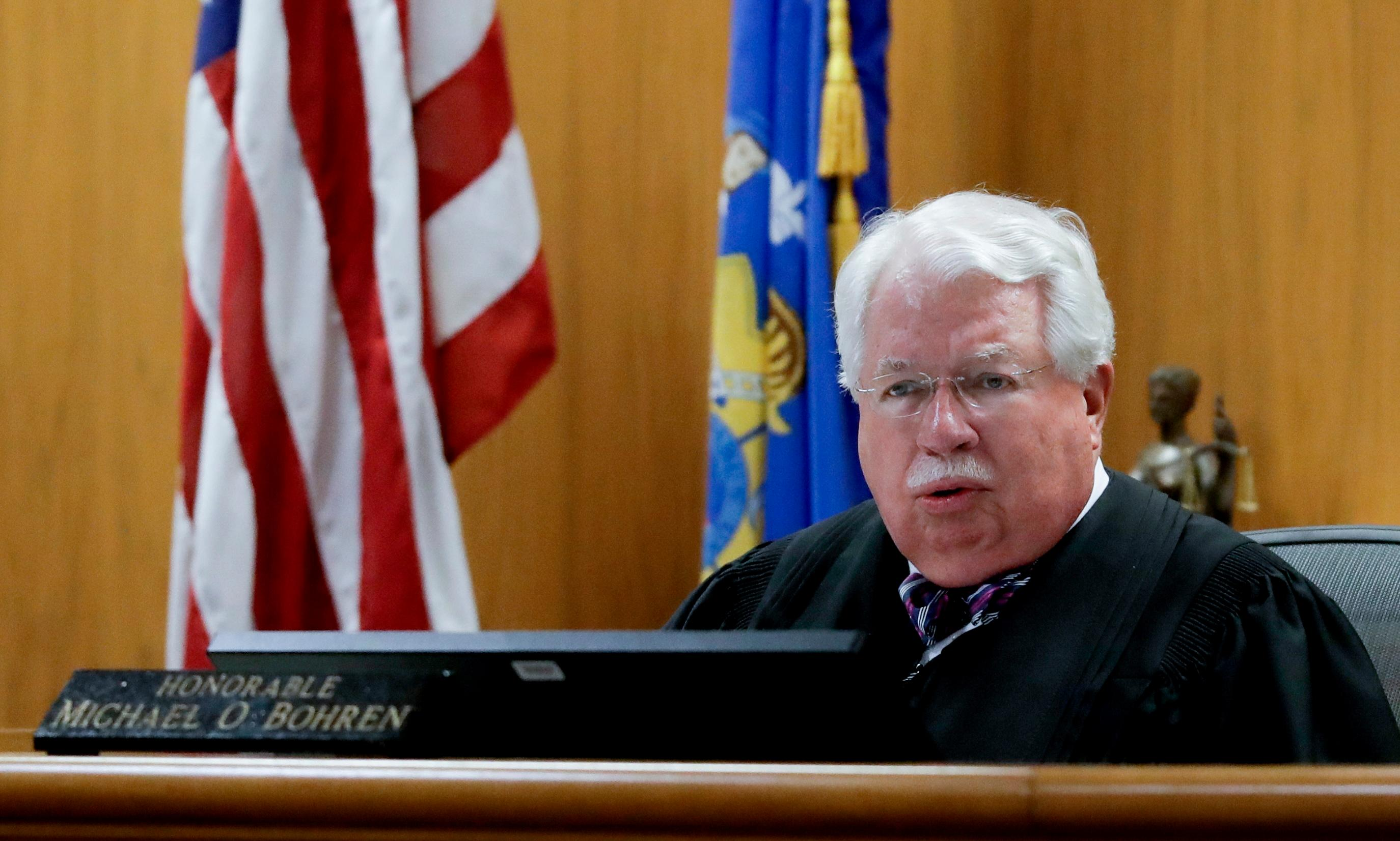 Judge Michael Bohren talks to potential jurors in the trial to determine 15-year-old Weier's competency at Waukesha County Courthouse Monday, Sept 11, 2017, in Waukesha, Wis.  (AP Photo/Morry Gash, Pool)