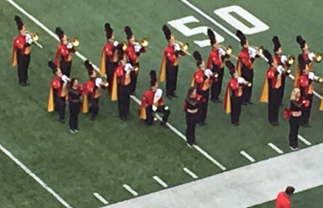 Multiple members of the University of Maryland marching band took a knee during the National Anthem Saturday before the Terrapins' football game. (Photo,  Kyle Melnick, Diamondback)