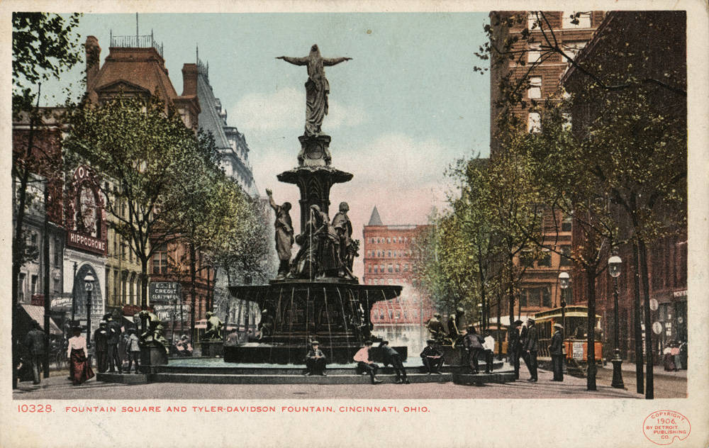 Tyler-Davidson Fountain from behind, looking east toward Walnut Street / DATE: Unknown / COLLECTION: Public Library of Cincinnati and Hamilton County, Joseph S. Stern, Jr. Cincinnati Room / Image courtesy of the digital archive of The Public Library of Cincinnati and Hamilton County // Published: 4.4.18
