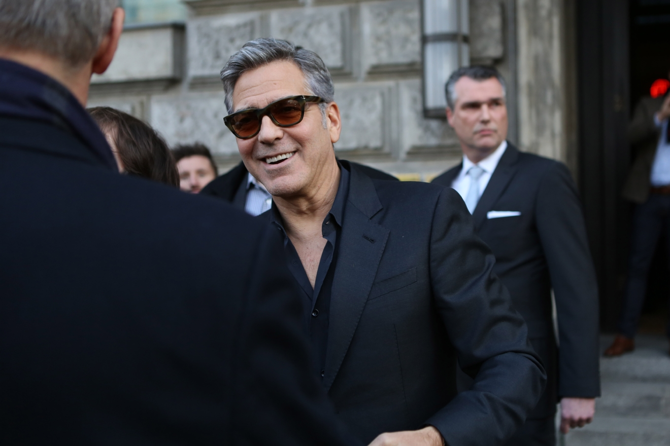George Clooney and Alden Ehrenreich leaving Hotel de Rome during the 66th annual International Berlin Film Festival (Berlinale).  Featuring: George Clooney Where: Berlin, Germany When: 12 Feb 2016 Credit: WENN.com