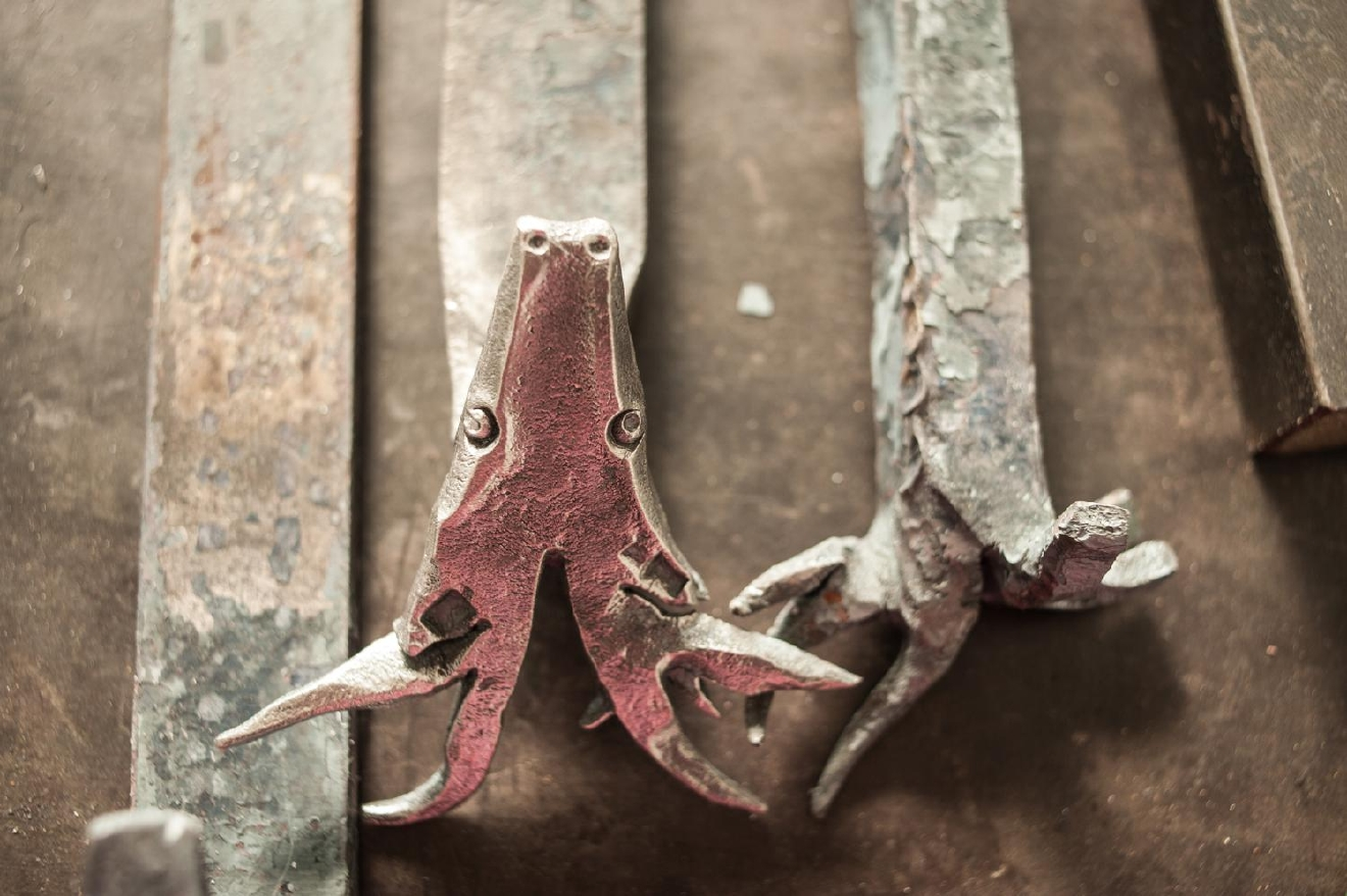 Hand-forged decorative pieces (Despite these stag-head creations, he has neither watched nor read Game of Thrones.) / Image: Melissa Doss Sliney