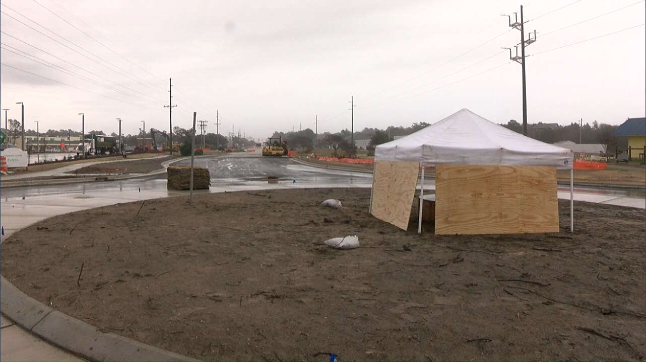 Whether you're for or against it, Emerald Isle is expecting its new roundabout to be open by March 1. (Nate Belt, NewsChannel 12 photo)