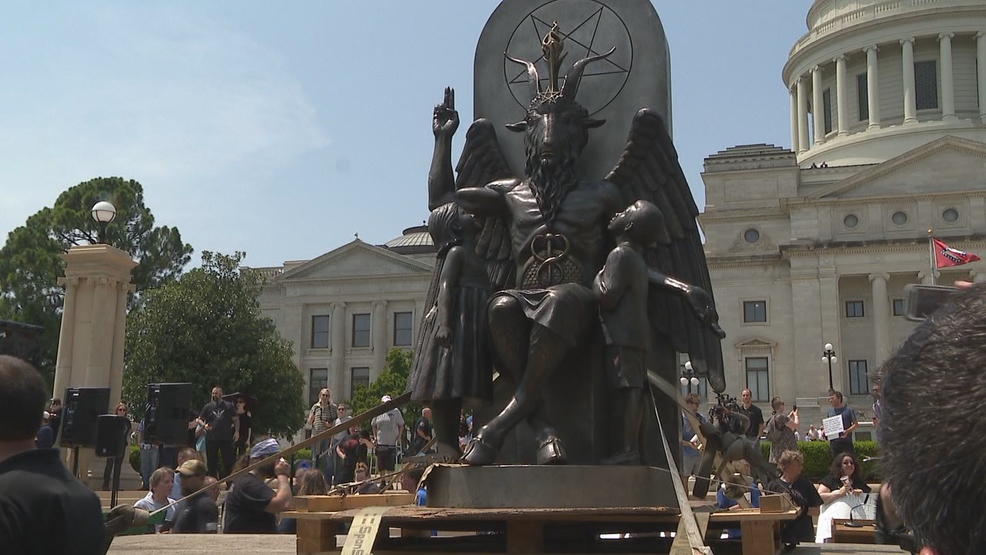 Satanic Temple statue unveiled at the Arkansas State Capitol