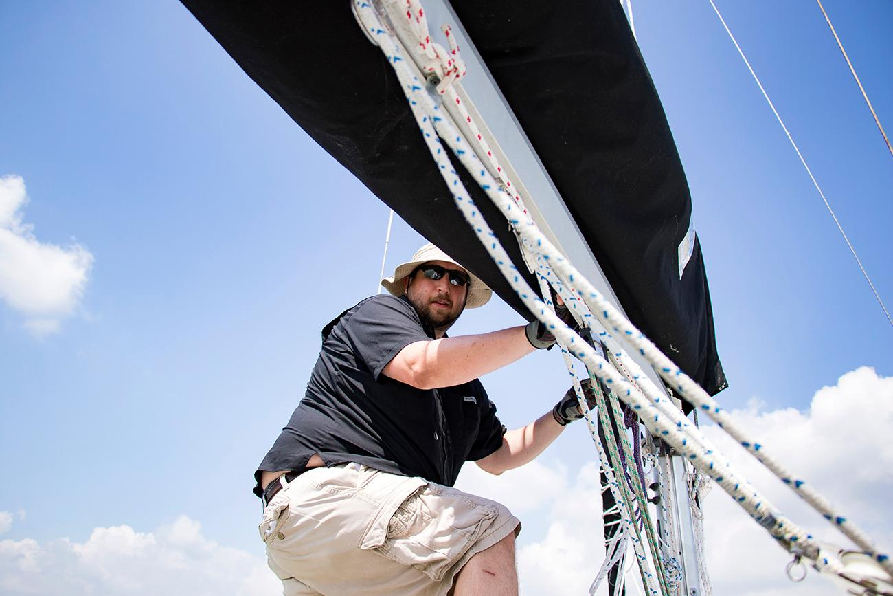 <p>Andy Holkamp, member of the Brookville Sailing Association / Image: Allison McAdams // Published: 6.12.18</p>