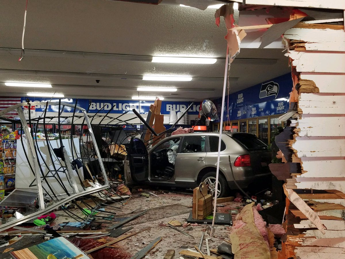 Damage left behind after a car crashed into a Sammamish gas station (King County Sheriff's Office Photo)