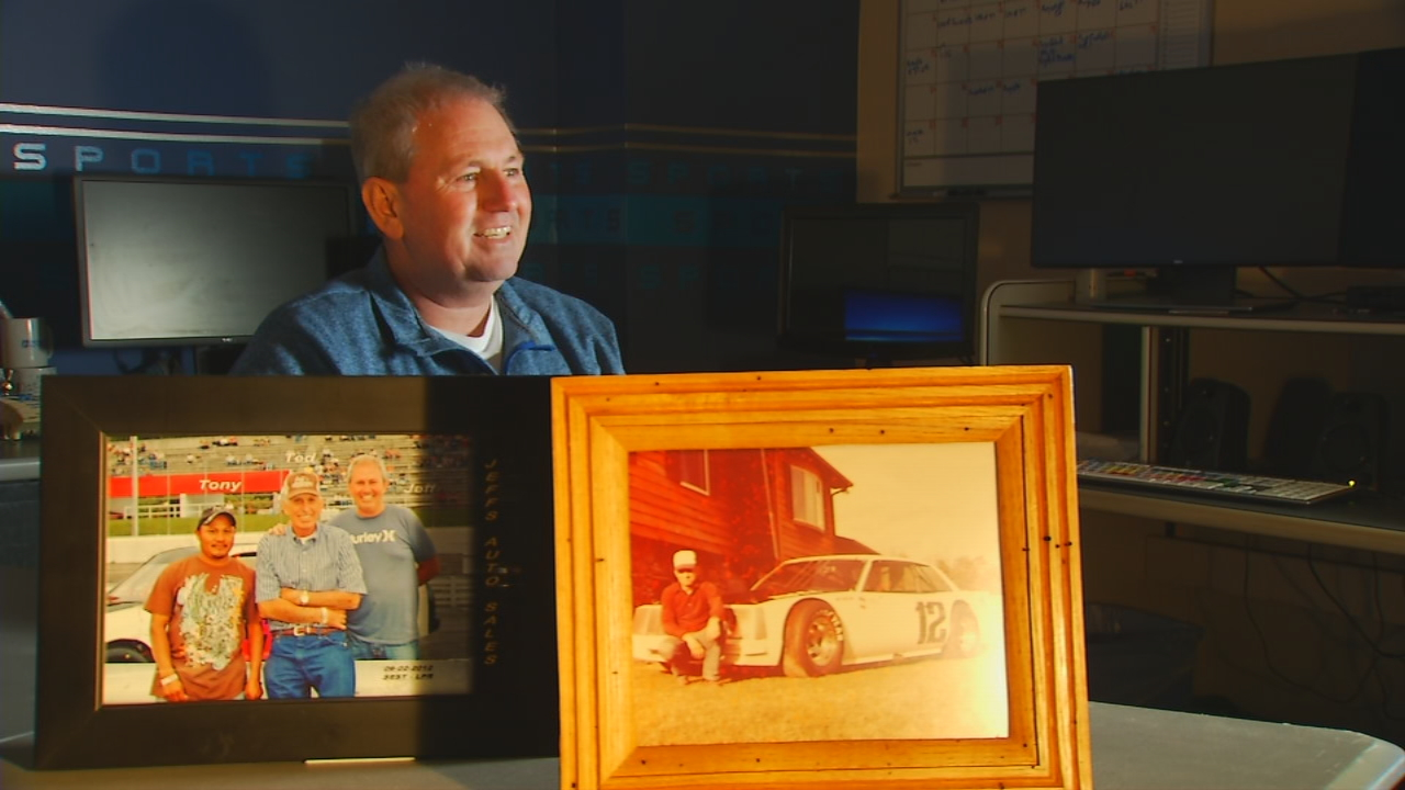 Ted Caldwell gave the casket of his dad, Jeff Caldwell, a racing inspired makeover. (Photo credit: WLOS staff)