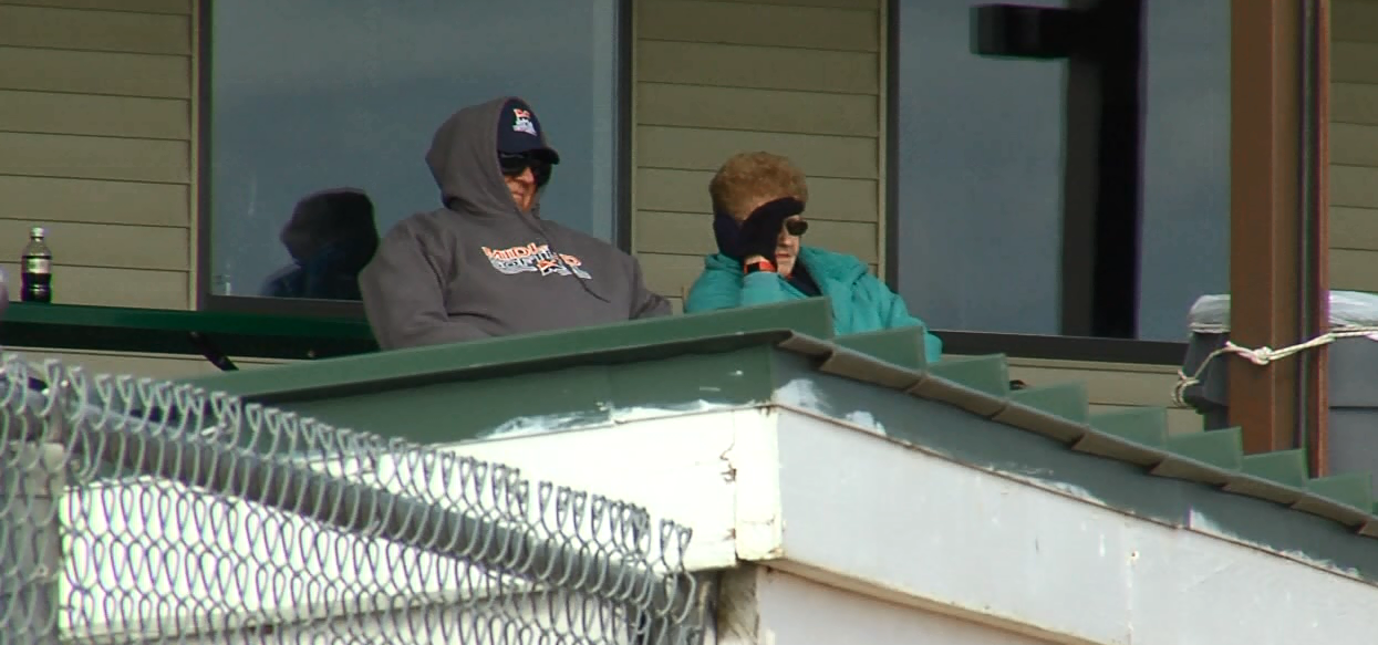 Fans brave the cold at the Smith Softball Complex. (NTV News)