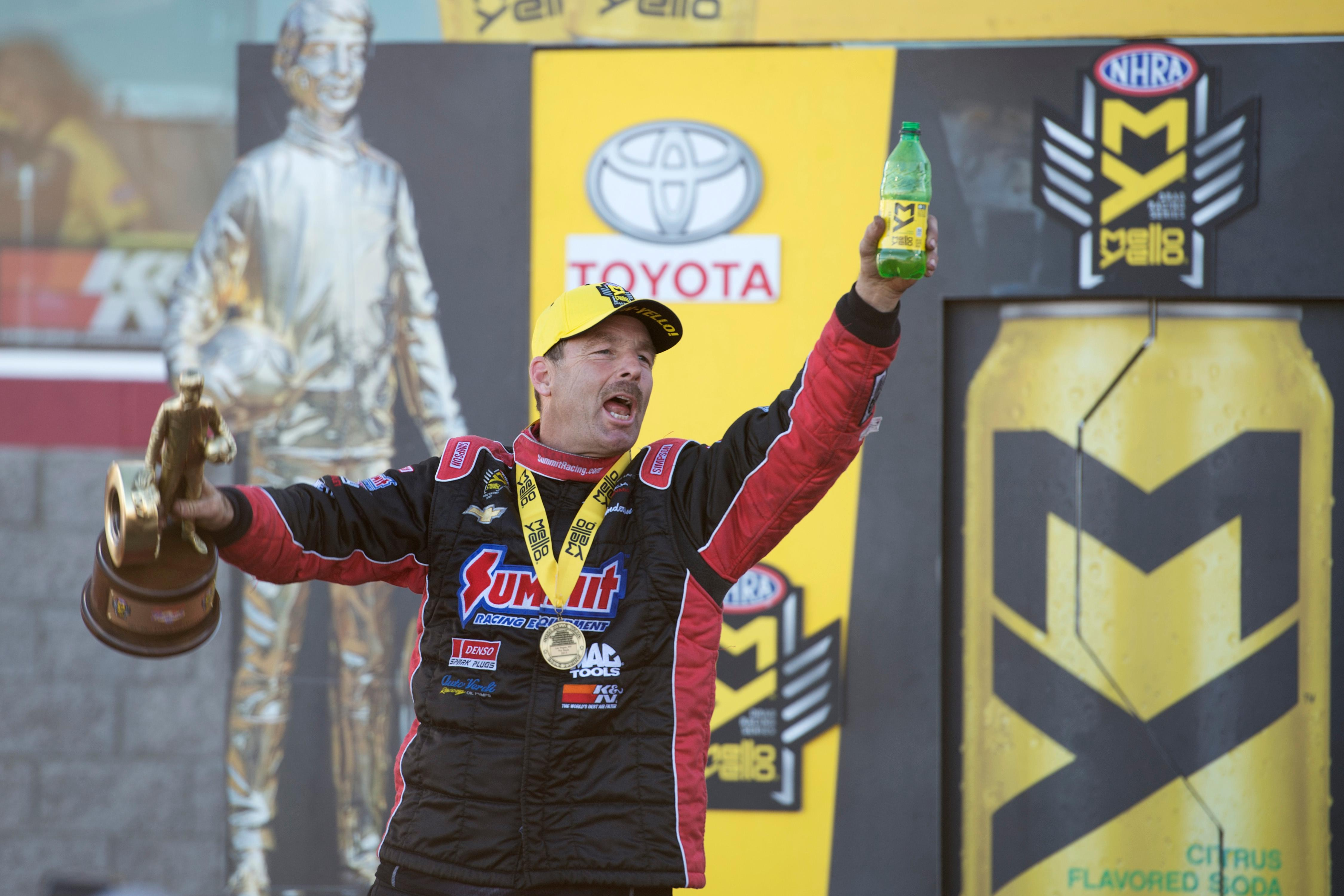 Pro Stock driver Greg Anderson celebrates his victory at the NHRA Toyota Nationals Sunday, October 29, 2017, at The Strip at the Las Vegas Motor Speedway. CREDIT: Sam Morris/Las Vegas News Bureau