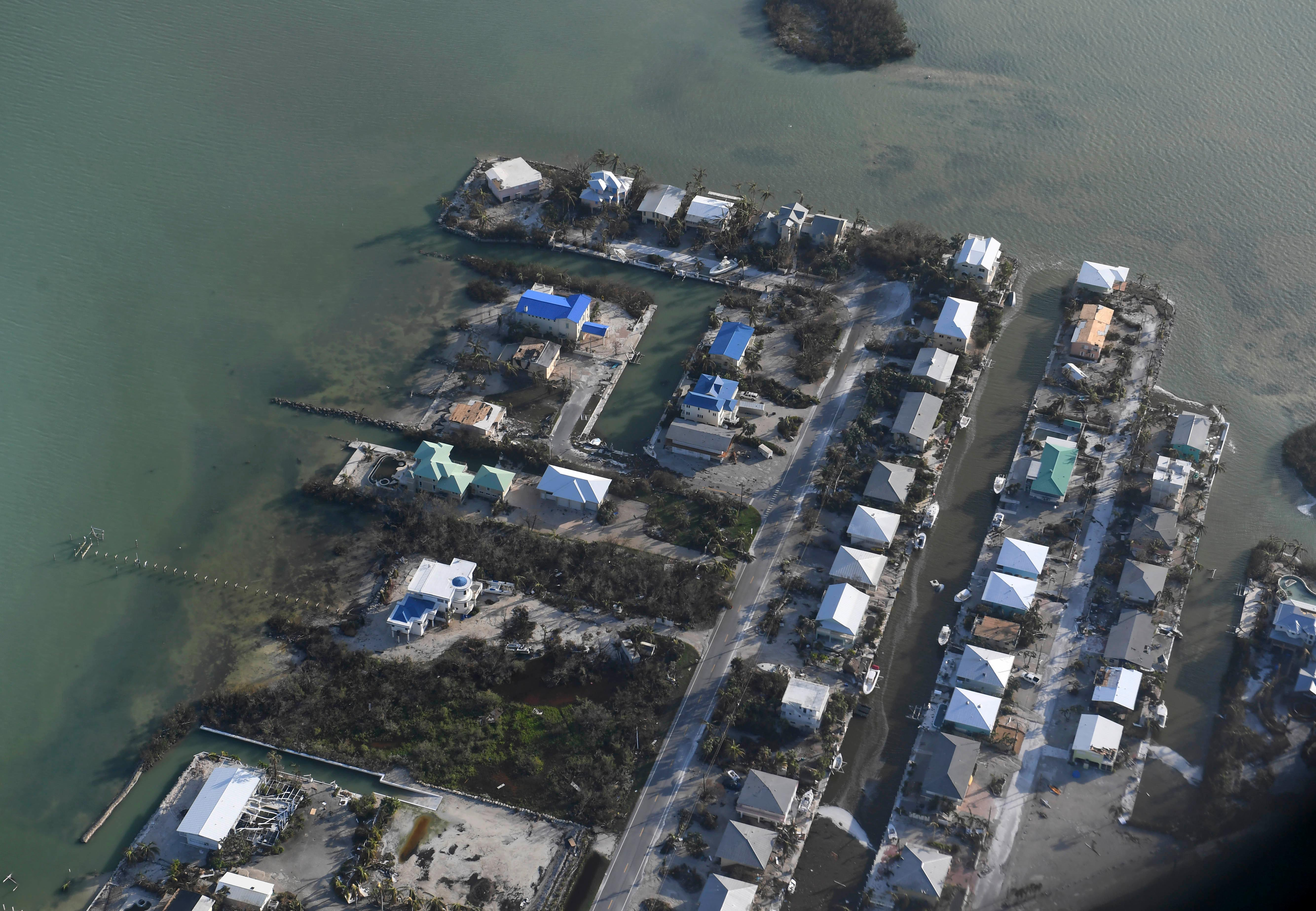 Damaged houses are shown in the aftermath of Hurricane Irma, Monday, Sept. 11, 2017, in the Florida Keys. (Matt McClain/The Washington Post via AP, Pool)
