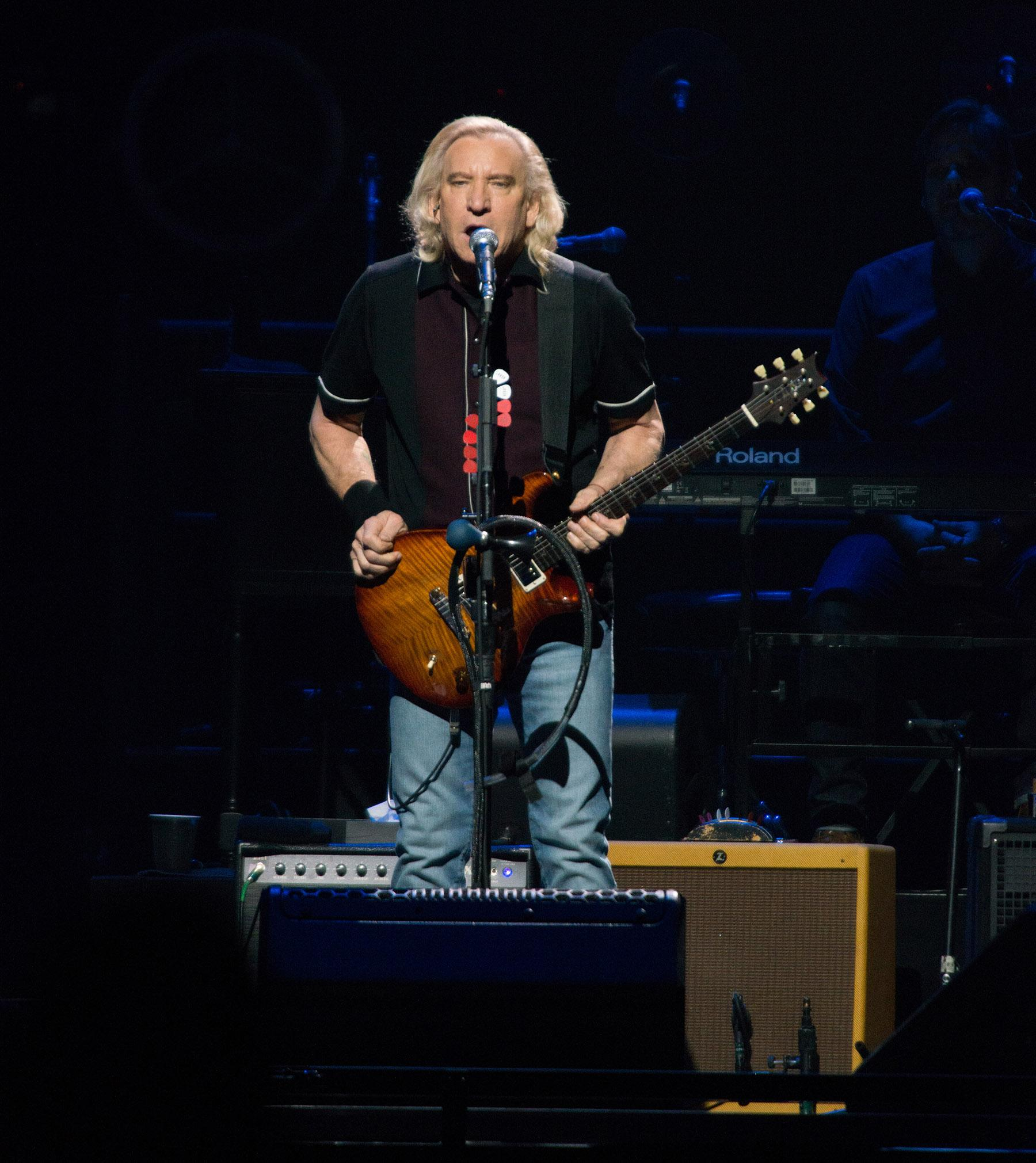 Iconic rock group the Eagles made a stop at Portland's Moda Center on Tuesday night, playing a night full of hits for a packed house of fans. The band (Don Henley, Joe Walsh, Timothy B. Schmit) were joined on stage by Deacon Frey, the son of the late founding member Glenn Frey, and country music artist Vince Gill. (KATU Photo by Tristan Fortsch on May 22, 2018)