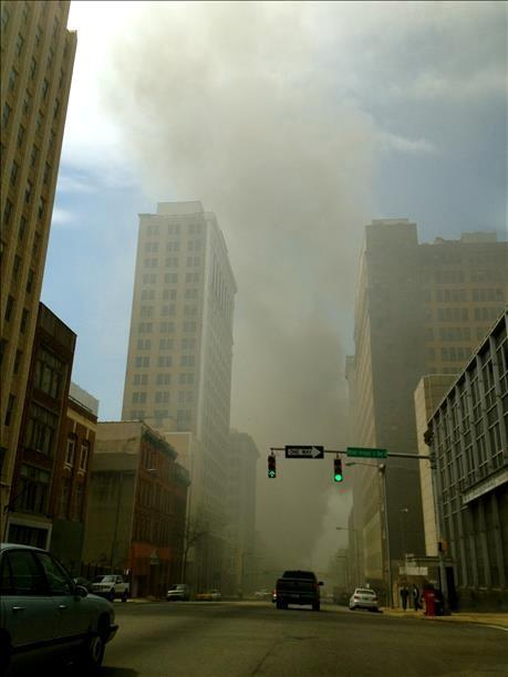 Viewer-submitted photo of the fire in downtown Birmingham on Friday, March 29, 2013.