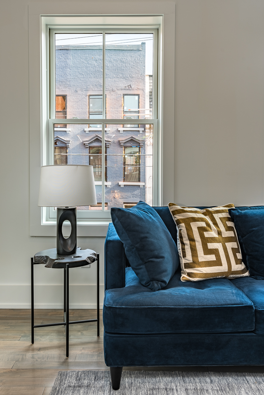 The view from the living is perfect for those who appreciate Over-the-Rhine's collection of Italianate architecture. / Image: Phil Armstrong, Cincinnati Refined // Published: 2.4.19