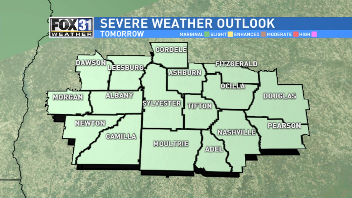 A weather system slated to impact South Georgia Wednesday could result in some severe weather. / Kerri Copello