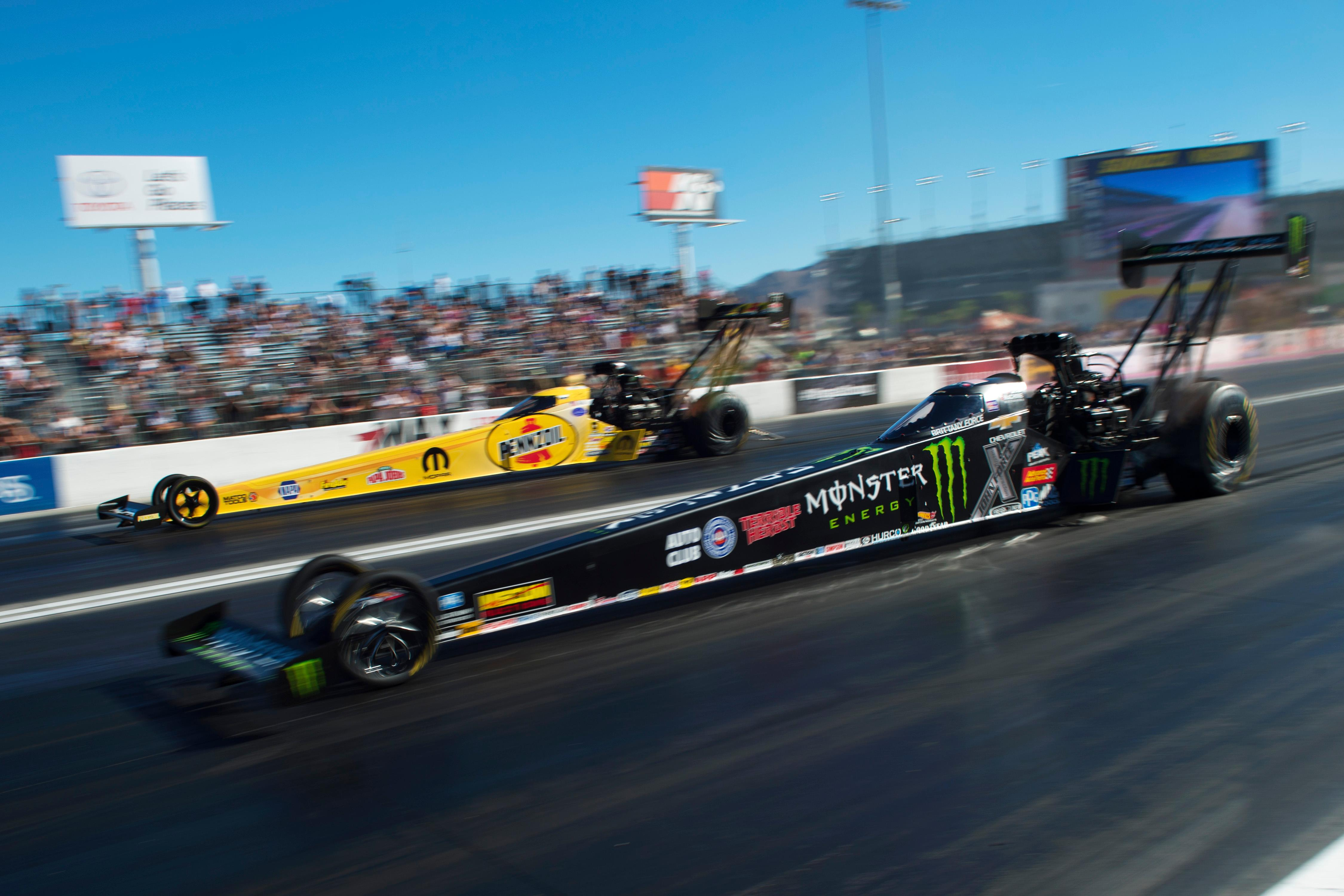 Top Fuel drivers Leah Pritchett, top, and Brittany Force face off during the NHRA Toyota Nationals Sunday, October 29, 2017, at The Strip at the Las Vegas Motor Speedway. CREDIT: Sam Morris/Las Vegas News Bureau