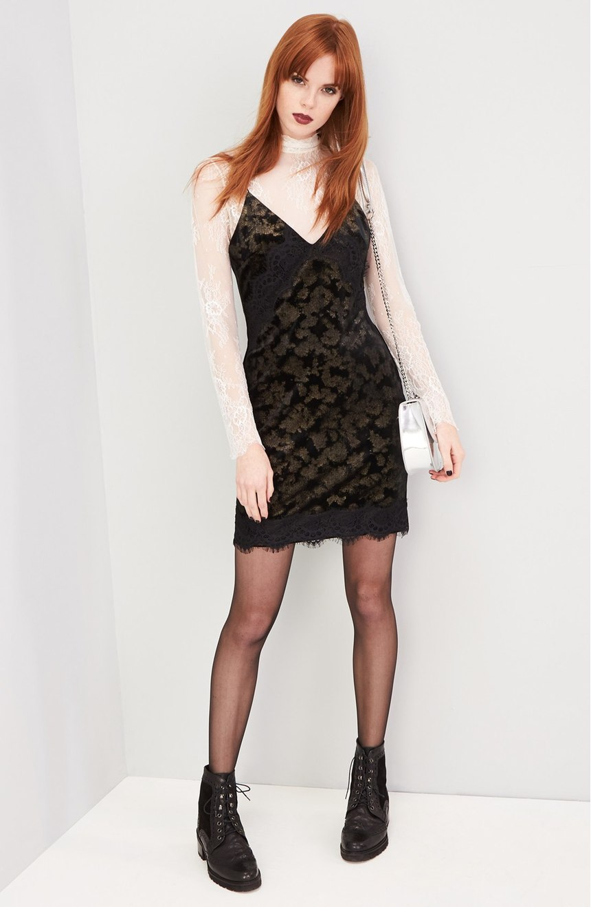 This 'Lace Trim Velvet Jacquard Slipdress' is super classy! $68.00 (Image: Nordstrom)